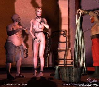 Sado comic. Slave girl dressed and performed to Master!