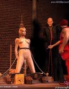 Bondage comics. Blonde slave forced to sit on the pole!