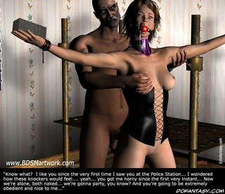 Slave comics. He spanked his new slave and then put his dick in her mouth!