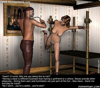 Bondage art. This slave giel has nice perky tits!