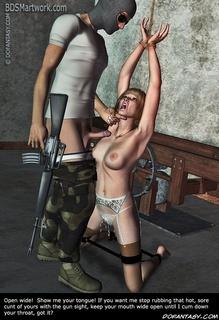 Bdsm art drawings. Slave girl gets fucked at gun point!