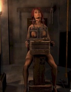 Bondage art. Her legs and hands chained!