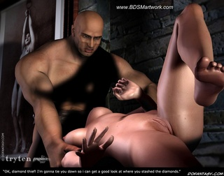 Bondage art. Muscular guy fucks his slave's throat!