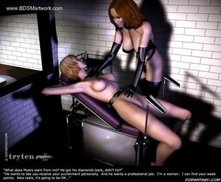 Bdsm art drawings. Rednead Mistress tortures his blondE slave!