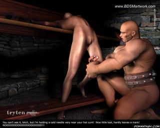 Sado comic. He makes deepthroat love with slave girls!