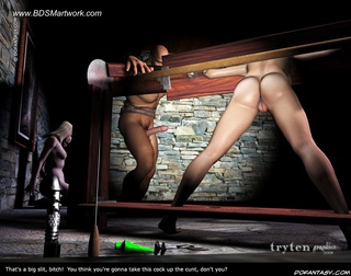 Submission art. He fucks one slave in front of the other two slaves!