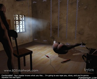 Bdsm art. Her legs and hands chained to the wall! So it's easy to fuck her!