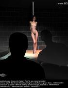 Bondage art. Slim brunette dancer teases in the strip bar!