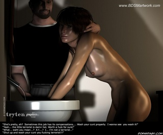 Sado comic. Naked brunette slave girl with her master!