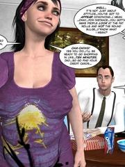 Chubby brunette wife slowly stripteasing in - Cartoon Sex - Picture 10