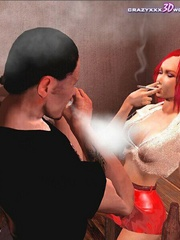 Horny 3d redhead chick willingly sucking nad - Cartoon Sex - Picture 4