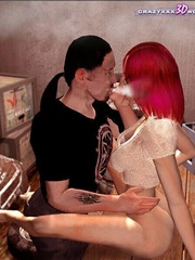 Horny 3d redhead chick willingly sucking nad - Cartoon Sex - Picture 9