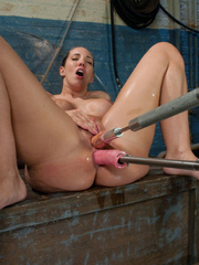 She spreads her legs and takes a huge dildo - Unique Bondage - Pic 14