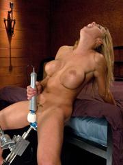 Huge blue dildo machine into her pussy. - Unique Bondage - Pic 3
