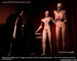 Fetish cartoons. Bald slave fucked by two men at once!
