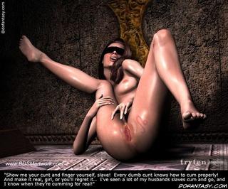 Horror comics. Masters's wife interrogate his new slave!