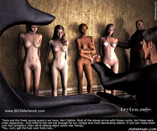 Sado comic. 4 finest slave girls performed to their master!
