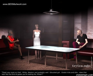 Submission art. Master and Mistress examine new slave girl!