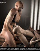 Bondage art. Master fucks his slave, and other slave licks his balls!