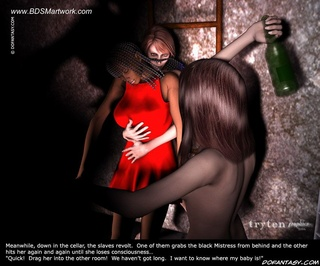 Sado comic. Slave's scream gives her Master a good hard-on again!