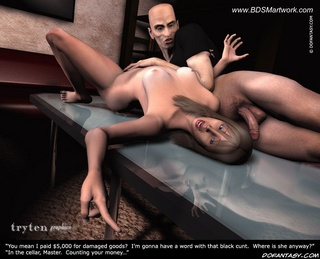 Slave girl comics. Lay down on the table and present your open pussy slave!
