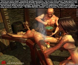 Bondage comics. Torturers put hot iron in slave's pussy!
