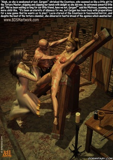 Slave art. Poor servant girl strictly punished in the dark basement!
