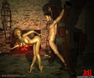 Sado comic. Mistress teases her sex-starved slave man!