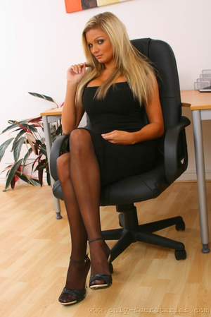Busty blonde secretary loves wearing sto - XXX Dessert - Picture 1