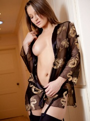 Stripteasing brunette in sexy gown - Sexy Women in Lingerie - Picture 2