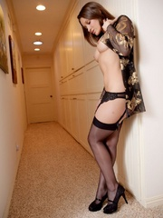 Stripteasing brunette in sexy gown - Sexy Women in Lingerie - Picture 3