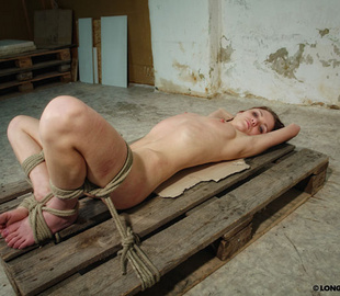 Tied up brunette chick gets her petite body - Unique Bondage - Pic 1