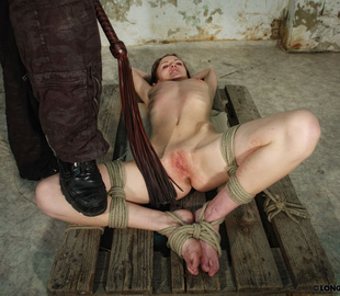 Tied up brunette chick gets her petite body - Unique Bondage - Pic 2