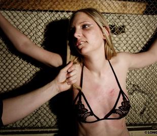 Bound blonde chick in sexy lingerie - Unique Bondage - Pic 1