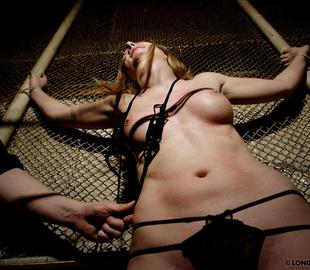 Bound blonde chick in sexy lingerie - Unique Bondage - Pic 3