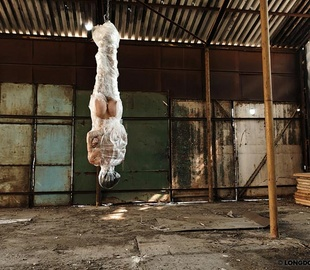 Suspended head down naked girl gets whipped - Unique Bondage - Pic 1