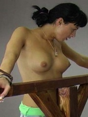 A woman is tied to the whipping post so she - Unique Bondage - Pic 14