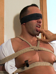 Blindfolded and bondaged gay hunk gets his - Unique Bondage - Pic 4