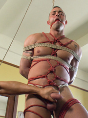 Blindfolded and bondaged gay hunk gets his - Unique Bondage - Pic 7