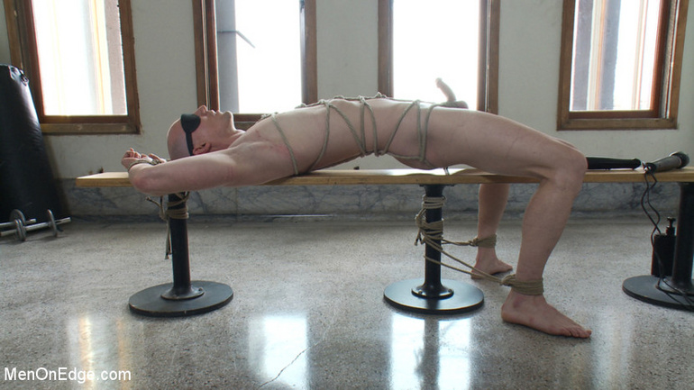 Blindfolded and naked man gets tied up