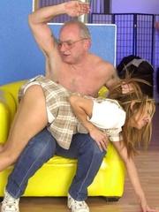 Cute topless girl enjoying a hard spanking - Unique Bondage - Pic 7