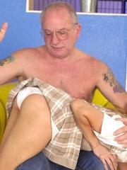 Cute topless girl enjoying a hard spanking - Unique Bondage - Pic 9