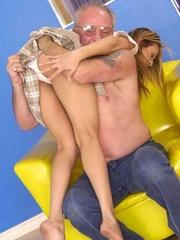 Cute topless girl enjoying a hard spanking - Unique Bondage - Pic 16