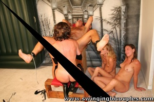 Watch three hot moms in bdsm suits bang hard old swinger's ass with dildo - XXXonXXX - Pic 8