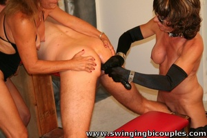 Watch three hot moms in bdsm suits bang hard old swinger's ass with dildo - XXXonXXX - Pic 13