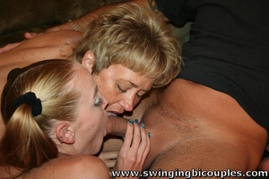 Old swinger persuaded his wife for threesome banging with a young cutie - XXXonXXX - Pic 1