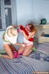 A pair hairy twat of playful teen lesbos teasing…