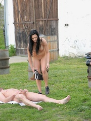 Powerful women pissing poured on the man in - Unique Bondage - Pic 2