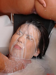 Blonde pees on the Asian face with some - Unique Bondage - Pic 9