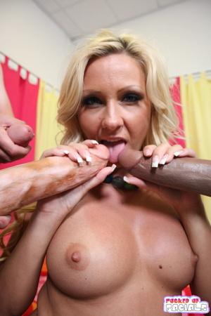 Beautiful blonde jm sloppy blowjob and swallow 5